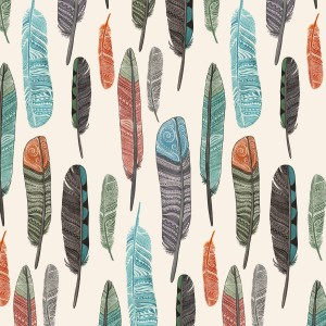 Watercolor Feathers Fabric Design 1 18x18 Crop